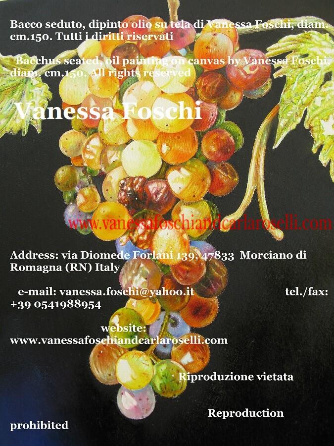 Bacco seduto, dipinto olio su tela di Vanessa Foschi, uva