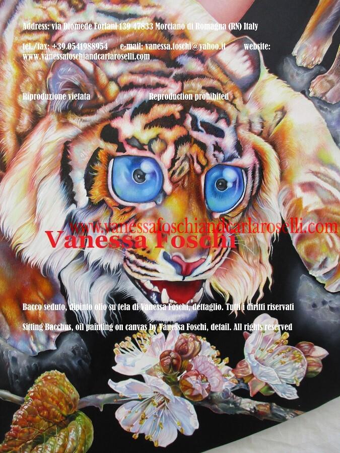 Bellissima tigre che fiuta fiore di albicocco, dettaglio del dipinto Bacco seduto di Vanessa Foschi, tecnica olio su tela
