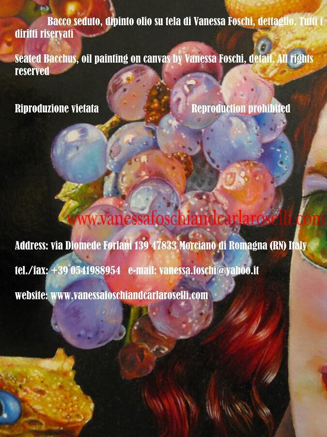 Dioniso seduto, dio della vendemmia, dipinto olio su tela di Vanessa Foschi, dettaglio, uva