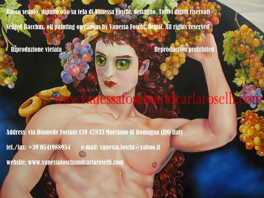 Dioniso seduto, dio della vendemmia, dipinto olio su tela di Vanessa Foschi