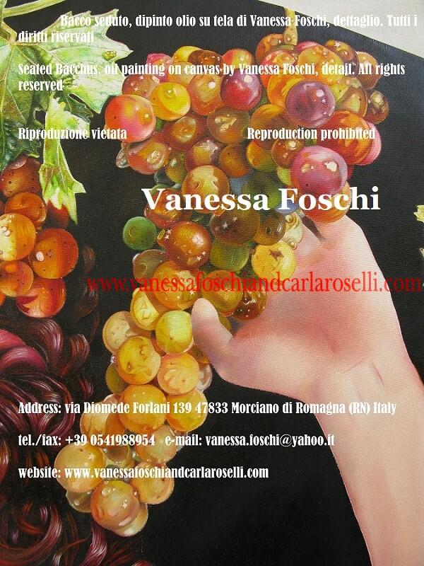 Dioniso seduto, dipinto olio su tela di Vanessa Foschi, grappolo di uva, Dionysus seated, bunch of grapes, painting by Vanessa Foschi