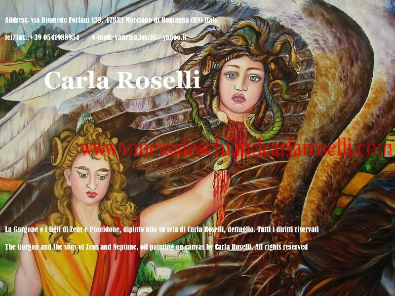 La Gorgone e i figli di Zeus e Poseidone, dipinto di Carla Roselli, via Diomede Forlani 139, 47833 Morciano di Romagna (RN) Italy