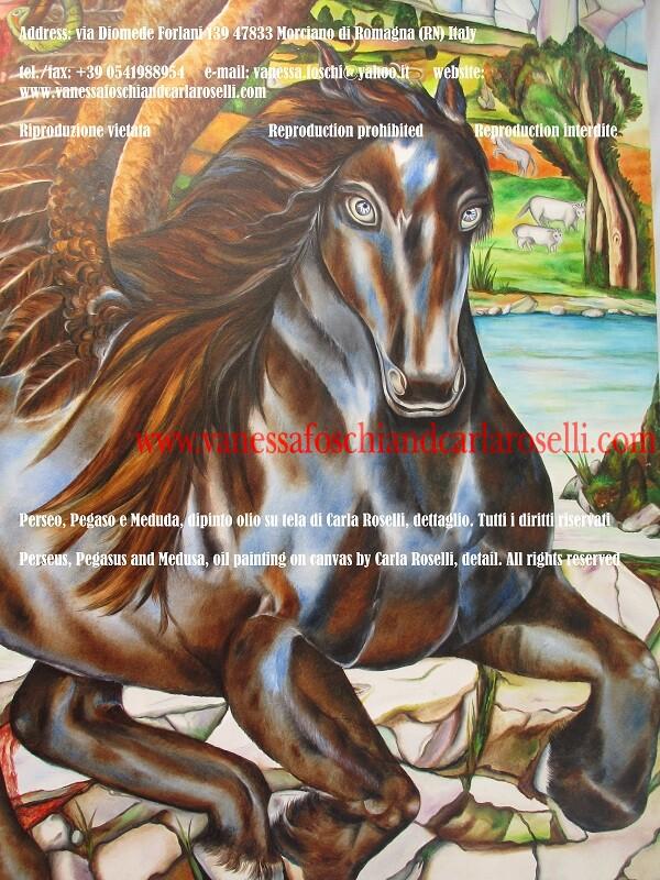 Medusa, Pegaso e Perseo, dipinto olio su tela di Carla Roselli da Morciano, dettaglio, cavallo alato