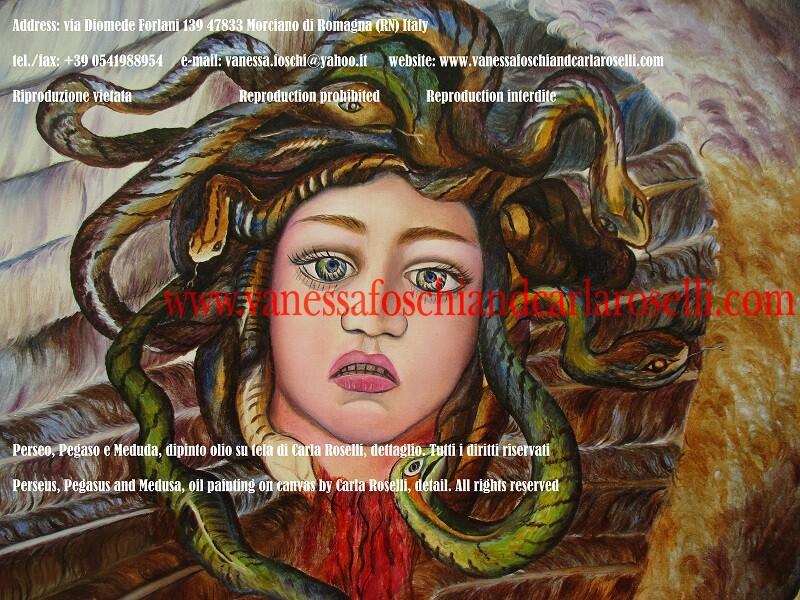 Medusa, particolare del dipinto Perseo e Pegaso di Carla Roselli