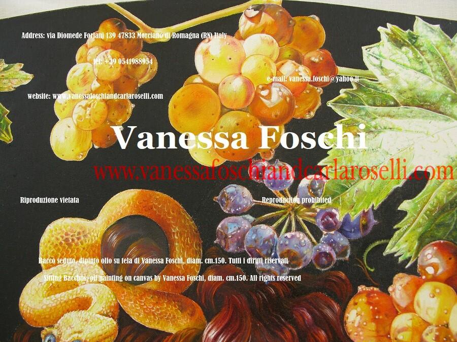 Moscatello e corimbo, dettaglio del dipinto Bacco seduto di Vanessa Foschi - Bacco Leneo, dio del torchio - Leneus, god of the winepress