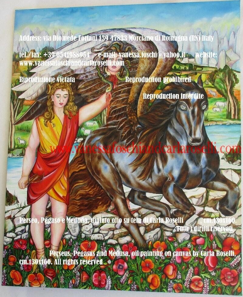 Perseo, Pegaso e Medusa, dipinto olio su tela di Carla Roselli, cm. 130 x160