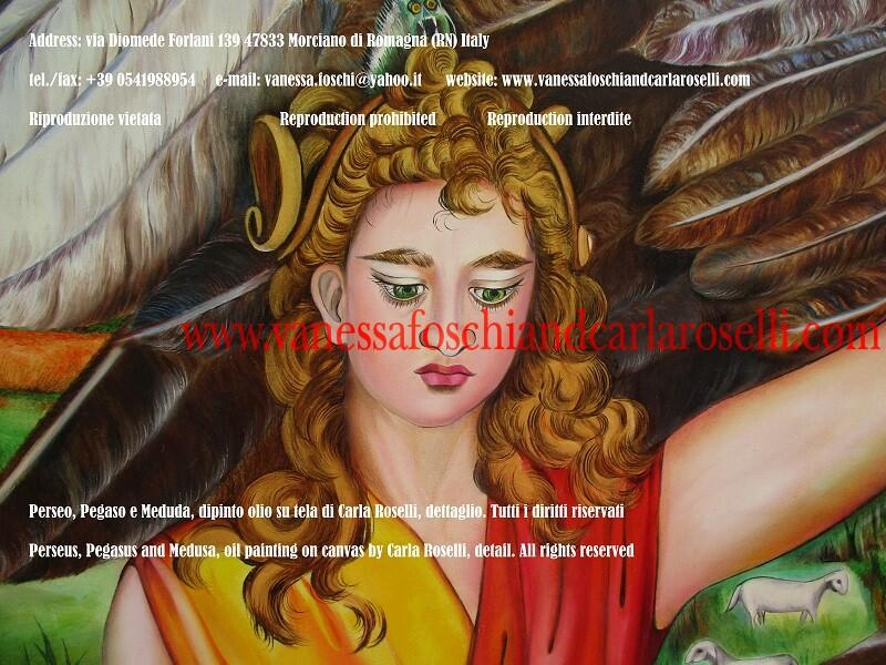 Perseo, Pegaso e Medusa, dipinto olio su tela di Carla Roselli, dettaglio