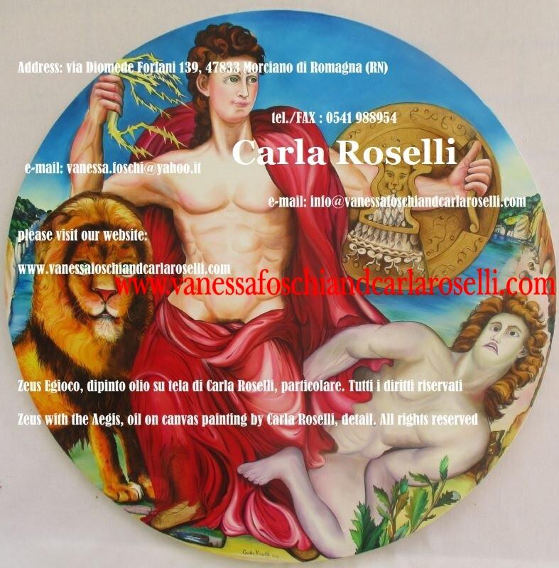 Pittrici italiane famose, Zeus Egioco, dipinto olio su tela di Carla Roselli da Morciano