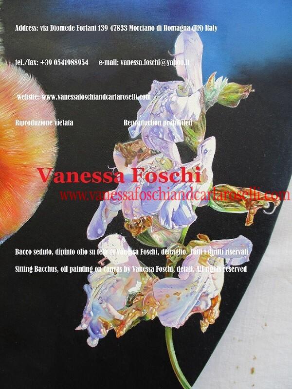Sage flower, detail from the painting Sitting Bacchus by Vanessa Foschi, Fiore di salvia, dettaglio del dipinto Bacco Seduto di Vanessa Foschi