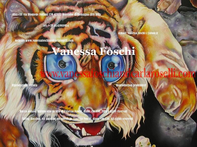 Tiger, detail from the painting Bacchus seated by Vanessa Foschi, Tigre, dettaglio del dipinto Bacco Seduto di Vanessa Foschi