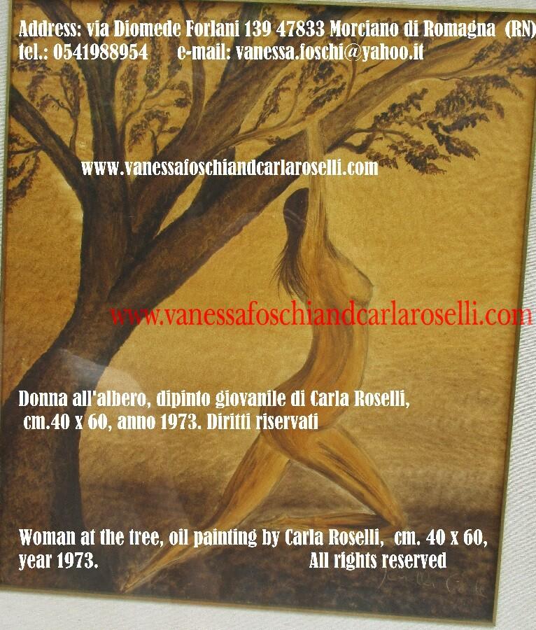 Early paintings by Carla Roselli, Woman at the tree, year 1973. Donna all'albero ocra, dipinto giovanile di Carla Roselli, tecnica olio su tela, anno 1973, cm. 40x60